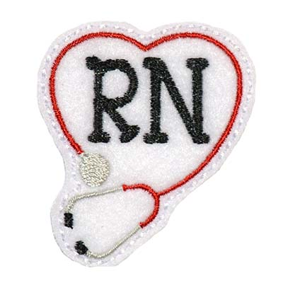 RN Stethoscope Heart Embroidery File
