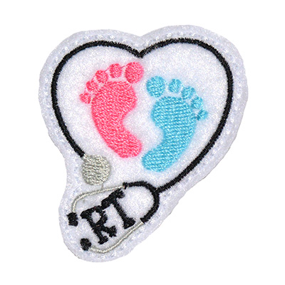 RT Baby Feet Stethoscope Heart Embroidery File