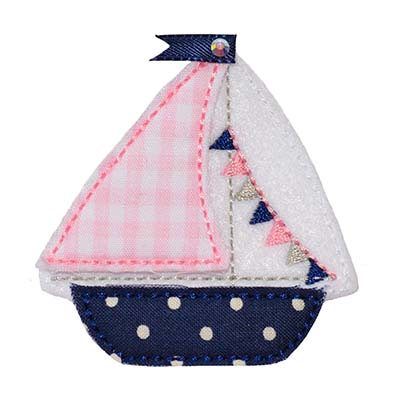 Sailboat with Pennant Flags Embroidery File