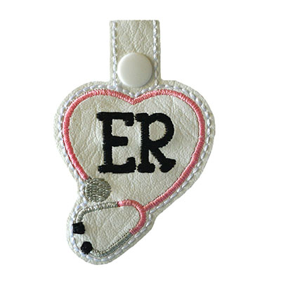 Snap Tab ER Stethoscope Heart Embroidery File