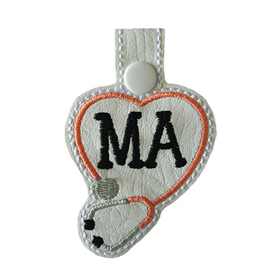 Snap Tab MA Stethoscope Heart Embroidery File