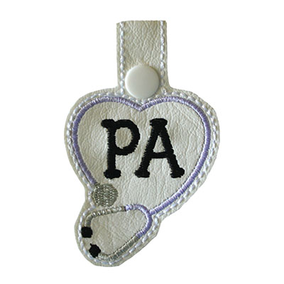 Snap Tab PA Stethoscope Heart Embroidery File