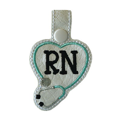 Snap Tab RN Stethoscope Heart Embroidery File