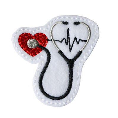 Stethoscope on Heart with EKG Embroidery File